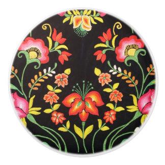 Mexican Embroidery Floral Black Bold Colors Coco Ceramic Knob