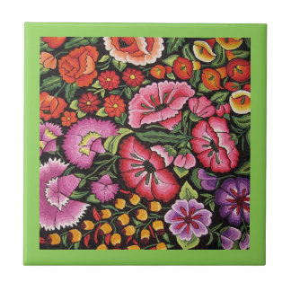 Mexican Embroidery Flowers Kitchen Green Trivet