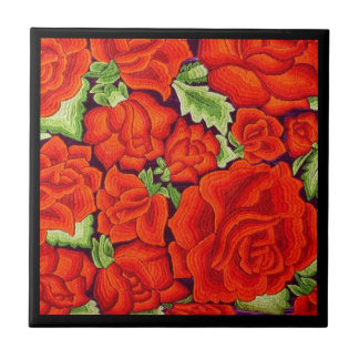 Mexican Embroidery Flowers Kitchen Orange Trivet