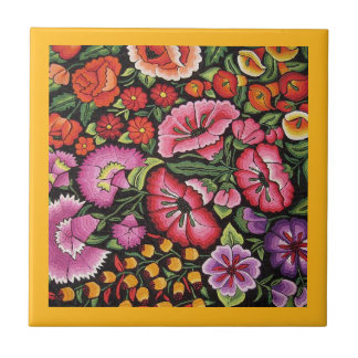 Mexican Embroidery Flowers Kitchen Yellow Trivet