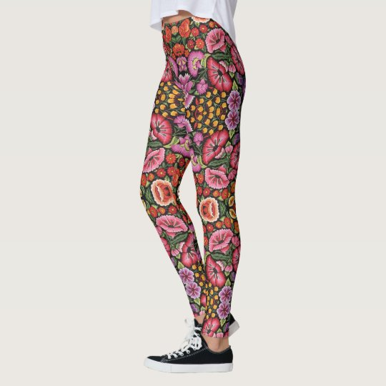 Mexican Embroidery Womens Leggings Yoga Pants