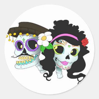 Mexican Festive Skull Couple Classic Round Sticker