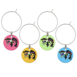 Mexican Festive Skull Wine Glass Charm