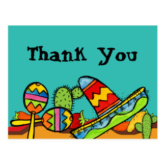 Mexican Fiesta Birthday Thank You Postcard