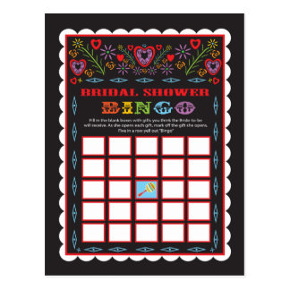 Mexican Fiesta Bridal Shower Bingo game card Postcard
