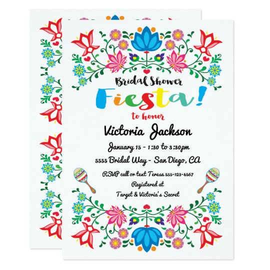 Mexican Fiesta Bridal Shower Flower Folkart Card
