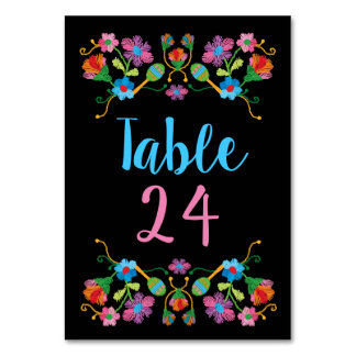 Mexican Fiesta Embroidery Table Numbers