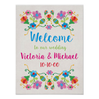 Mexican Fiesta Embroidery Welcome Poster