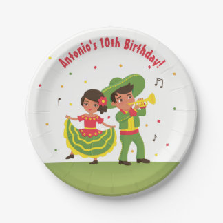 Mexican Fiesta Hispanic Kids Birthday Party Plates 7 Inch Paper Plate