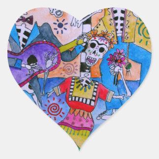 MEXICAN FIESTA Mariachi Cats Calavera Heart Sticker