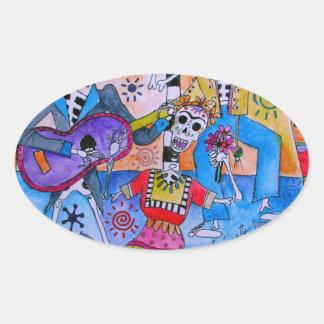 MEXICAN FIESTA Mariachi Cats Calavera Oval Sticker