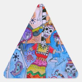 MEXICAN FIESTA Mariachi Cats Calavera Triangle Sticker