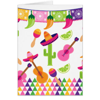 Mexican Fiesta Party Sombrero Saguaro Lime Peppers Card