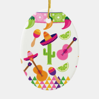 Mexican Fiesta Party Sombrero Saguaro Lime Peppers Ceramic Oval Ornament
