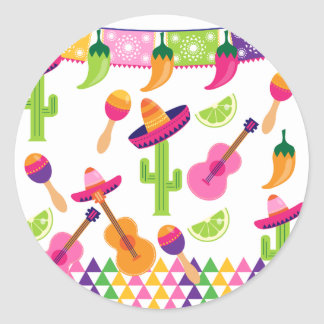 Mexican Fiesta Party Sombrero Saguaro Lime Peppers Classic Round Sticker