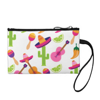 Mexican Fiesta Party Sombrero Saguaro Lime Peppers Coin Wallet