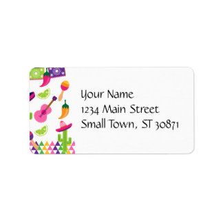 Mexican Fiesta Party Sombrero Saguaro Lime Peppers Label