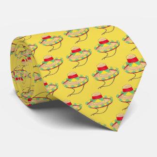 Mexican Fiesta Sombrero Print Yellow Cinco de Mayo Tie