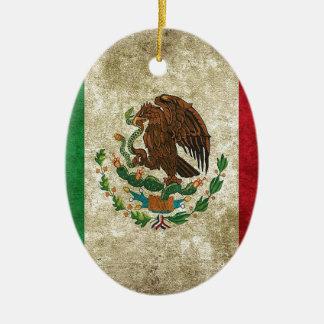 Mexican Flag Ceramic Oval Ornament