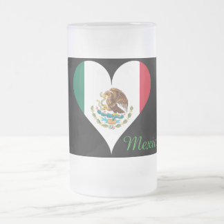 Mexican flag frosted glass beer mug