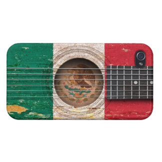 Mexican Flag on Old Acoustic Guitar iPhone 4 Case