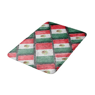 Mexican Flag Pattern Design Bath Mat