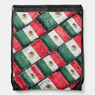 Mexican Flag Pattern Design Drawstring Bag