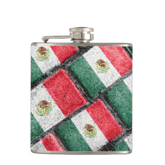 Mexican Flag Pattern Design Hip Flask