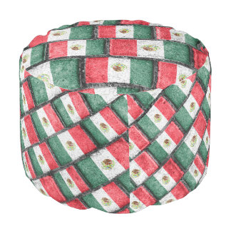 Mexican Flag Pattern Design Pouf