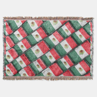 Mexican Flag Pattern Design Throw Blanket