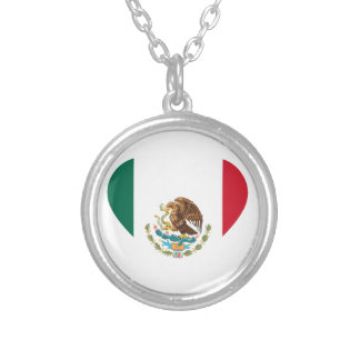 Mexican flag silver plated necklace