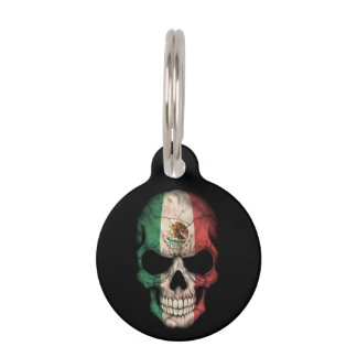 Mexican Flag Skull on Black Pet Tag
