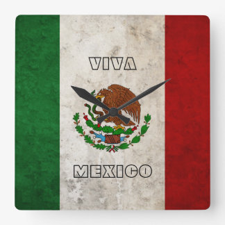 Mexican Flag Square Wall Clock