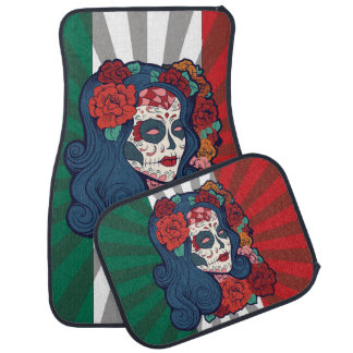 Mexican Flag Sugar Skull Woman Red Roses In Hair Car Mat