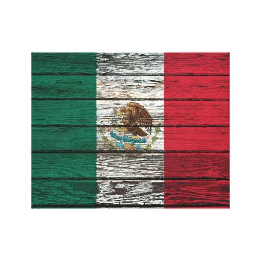 Mexican Flag with Rough Wood Grain Effect Stretched Canvas Prints