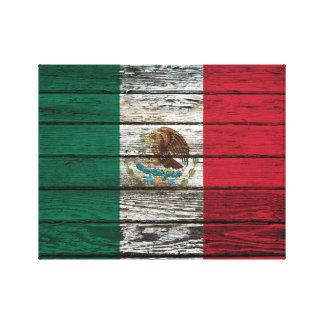 Mexican Flag with Rough Wood Grain Effect Canvas Print