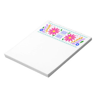 Mexican flower embroidery personalized note pad