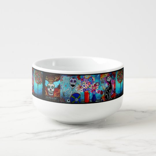 Mexican Folk Art Paintings by Prisarts Soup Mug