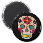 Mexican Folk Art Sugar Skull 2 Inch Round Magnet