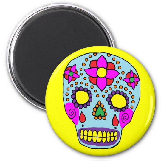 Mexican Folk Art Sugar Skull Magnet