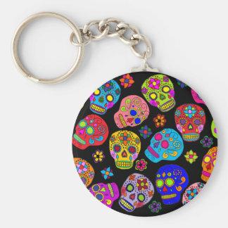 Mexican Folk Art Sugar Skulls Basic Round Button Keychain