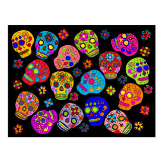 Mexican Folk Art Sugar Skulls Postcard