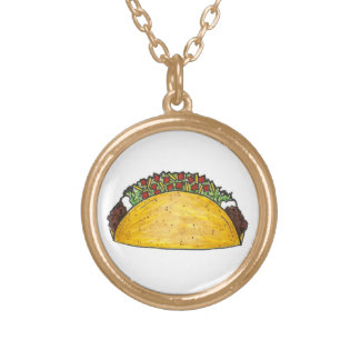 Mexican Food Foodie Taco Tacos Cinco de Mayo Gift Gold Plated Necklace