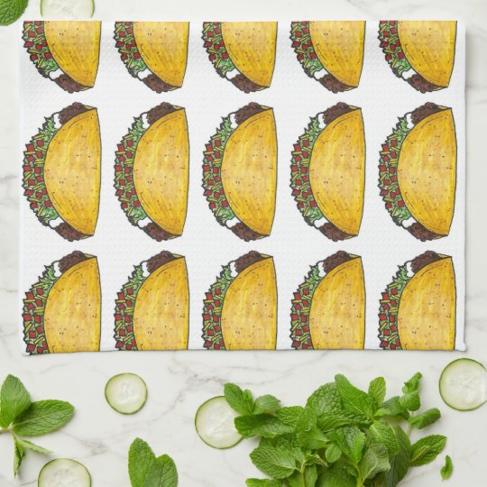 Mexican Food Foodie Taco Tacos Print Kitchen Towel