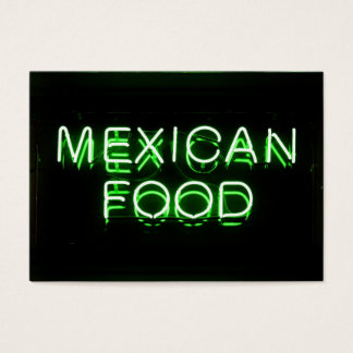 MEXICAN FOOD - Green Neon Sign Business Card