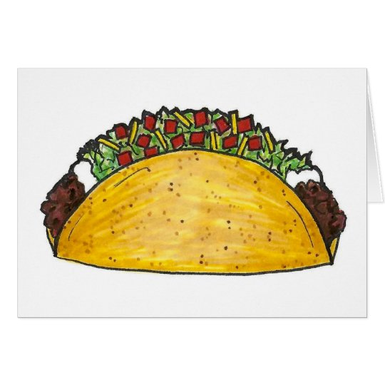 Mexican Food Hard Shell Taco Tacos Foodie Card