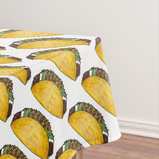 Mexican Food Hard Shell Taco Tacos Print Decor Tablecloth