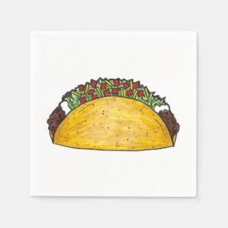 Mexican Food Hard Shell Taco Tacos Print Napkin Paper Napkins
