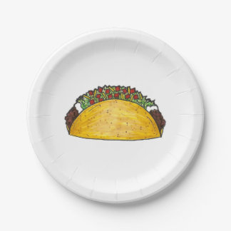 Mexican Food Hard Shell Taco Tacos Print Plates