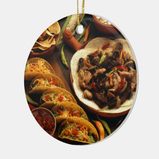 Mexican Food Round Ceramic Ornament